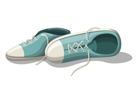 Some Blue sneakers. Isolated on white background. Vector Illustration. Illusztráció