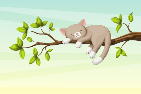 Little Cat sleeping on a branch with leaves