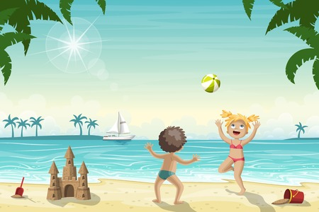 Two kids are playing on the beach with a ball.