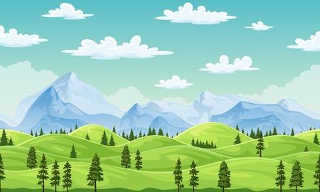 Paisaje de verano con árboles y montañas, ilustración