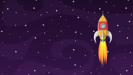 Colorful cartoon rocket in space with stars