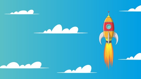 Colorful cartoon rocket in sky with clouds Ilustração