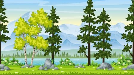 Seamless cartoon nature background. Vector illustration with separate layers. Ilustração