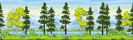 Rual summer landscape with trees and moutains, panorama