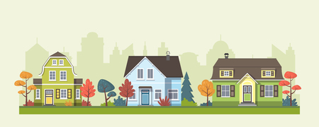 Three classic houses in the suburb with trees Ilustração