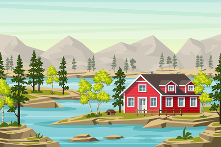 Summer landscape in the moutains, with trees, water and a red house Ilustração