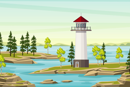 Summer landscape with lighthouse, trees and water