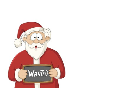 Happy cartoon Santa Claus holding a sign, isolated on white background
