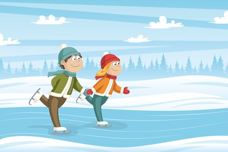 Two kids skate on the ice, vector illustration