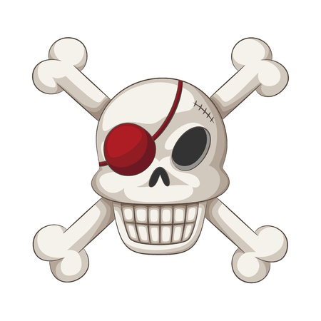 Funny cartoon skull with eye batch and crossbones, vector illustration Reklamní fotografie
