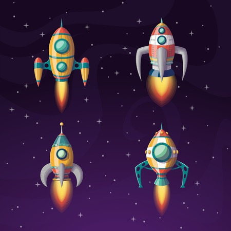 Collection of some rockets in space, vector illustration