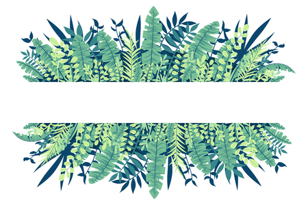 Tropical leaves banner on white background. Vector illustration with separate layers. Vettoriali