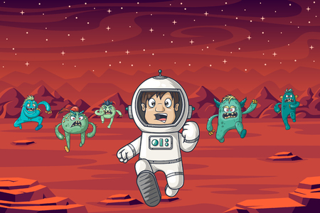 An astronaut is being chased by monsters on Mars Çizim