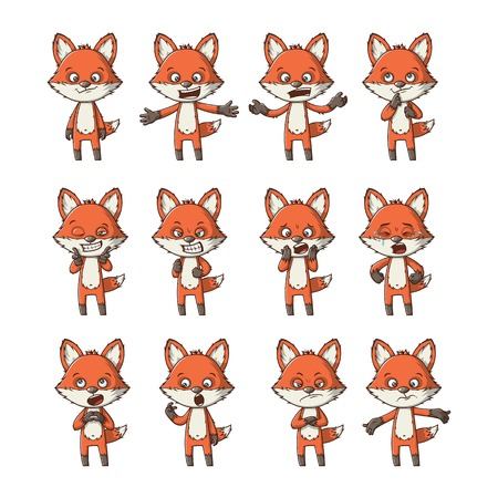 Funny cartoon fox set with different emotions Ilustração