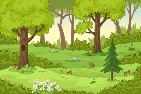 Cartoon summer landscape with trees and flowers, hand draw illustration