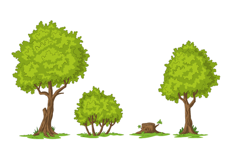 Collection of cartoon trees, hand draw illustration