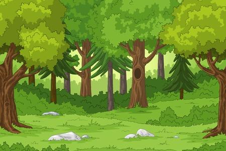 Paysage forestier avec des pierres, illustration de tirage à la main