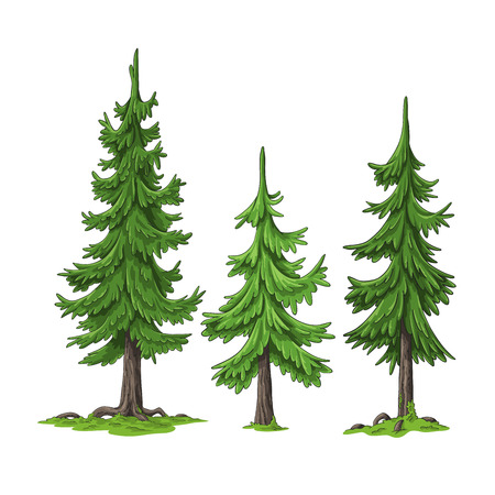 Collection of some cartoon trees, hand draw illustration Vetores