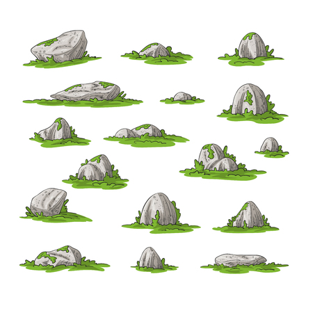 Collection of some cartoon stones, hand draw illustration