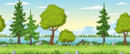 Seamless cartoon summer landscape. Hand draw with separate layers.