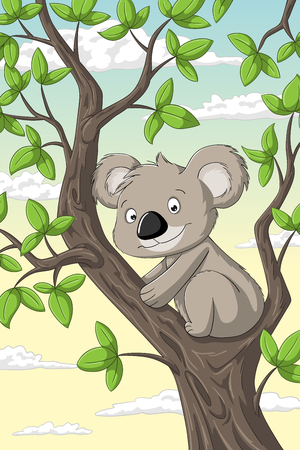 Cut koala on a tree with clouds in background