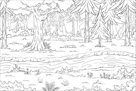 Coloring book landscape. Hand draw vector illustration with separate layers. Stock Illustratie