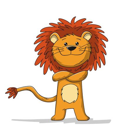 Cute cartoon lion. Isolated on white background. Illusztráció