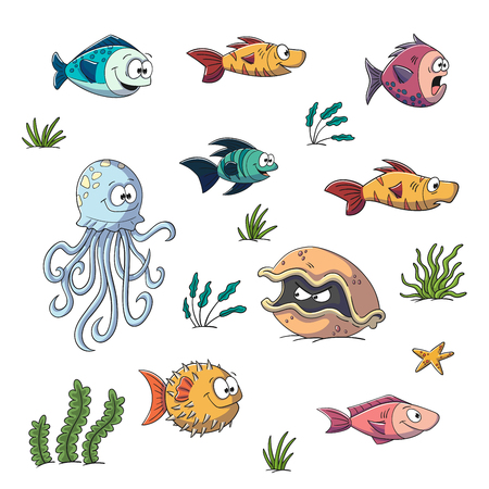 Collection of some funny cartoon fishes and plants