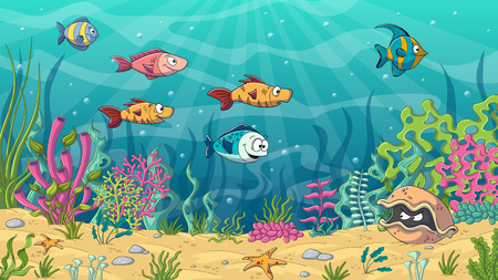 Underwater cartoon landscape with fishes and plants