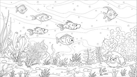 Libro para colorear paisaje submarino. Dibujar a mano ilustración vectorial con capas separadas.