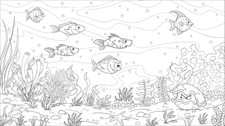 Paysage sous-marin de livre de coloriage. Main dessiner illustration vectorielle avec des calques séparés.