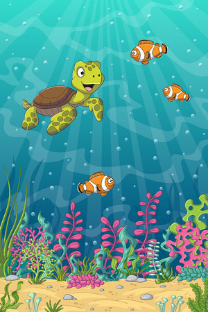 Cartoon turtle and clown fish, unterwater landscape with separate layers.
