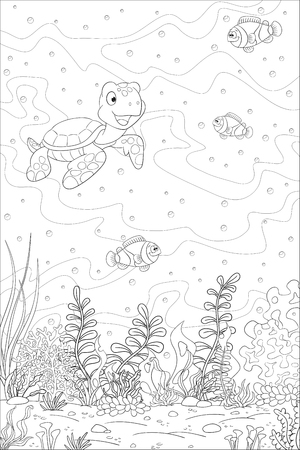 c458f4592731c Coloring book underwater landscape. Hand draw vector illustration with  separate layers.
