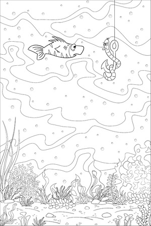 Coloring book underwater landscape with fish and worm. Hand draw vector illustration with separate layers.