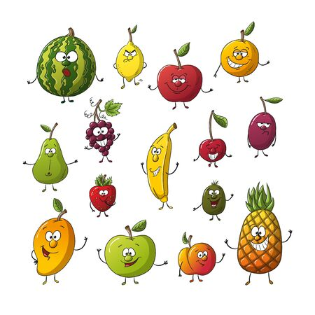 Collection of some different cartoon fruits. Isolated on white background, with separate layers. Illusztráció