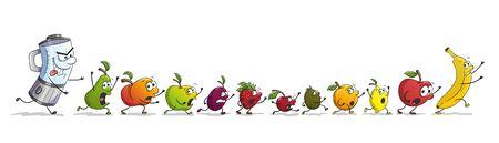 Cartoon mixer chases fresh funny fruit. With separate layers. Illusztráció