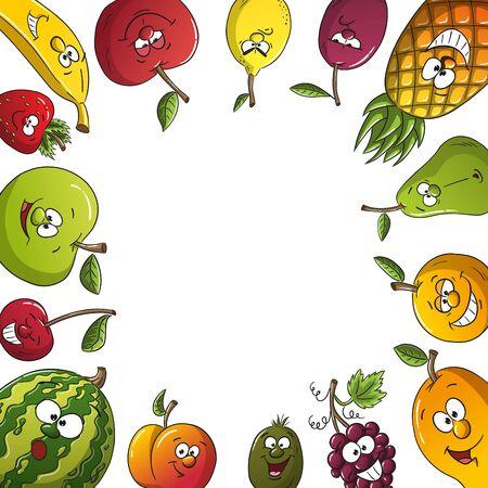 Cartoon fresh fruit frame. With separate layers. Illusztráció