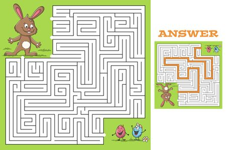 Cartoon easter game puzzle with solution. Vector illustration with separate layers. Ilustração