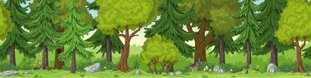 Seamless forest summer landscape with separate layers. Illusztráció