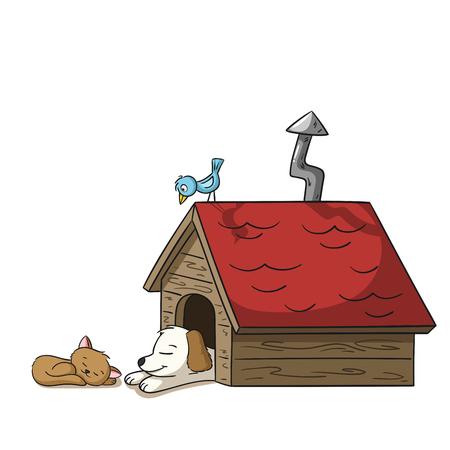 Sleeping cat and dog at a doghouse with bird Ilustração
