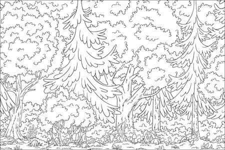 Coloring book landscape. Hand draw vector illustration with separate layers. Illustration