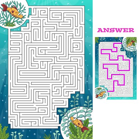 Cartoon game puzzle with solution. Vector illustration with separate layers.