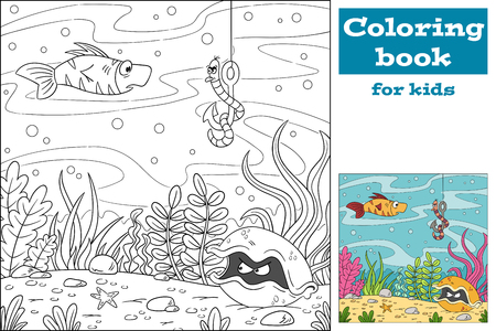 Coloring book for kids. Hand draw vector illustration with separate layers. Illusztráció