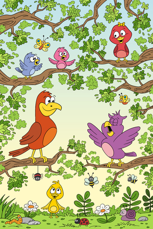 Funny birds in tree. Hand draw vector illustration with separate layers. Illustration