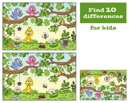 Divertido juego de dibujos animados para niños. Con solución. Ilustración de vector con capas separadas.