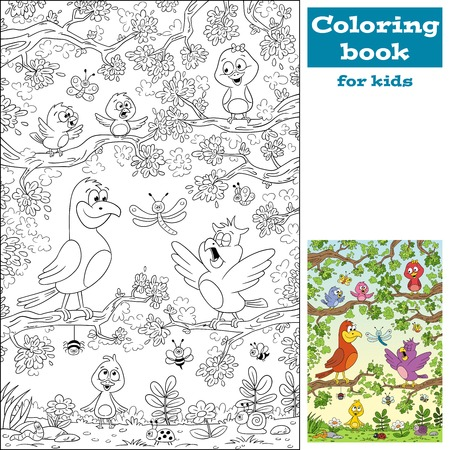 Coloring book with birds. Hand draw vector illustration with separate layers.