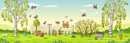 Panorama spring landscape with birds, flowers, trees and gardening tools. Illustration