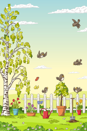 Spring landscape with birds, flowers, trees and gardening tools.