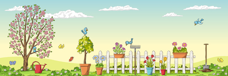 Panorama spring landscape with gardening tools. Hand draw vector illustration. Çizim