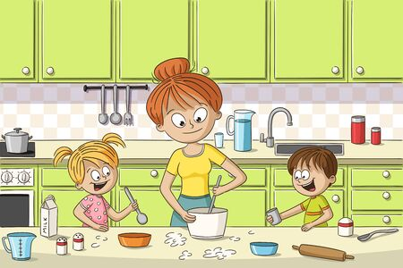 Mother is cooking with her two children. Hand drawn vector illustration.
